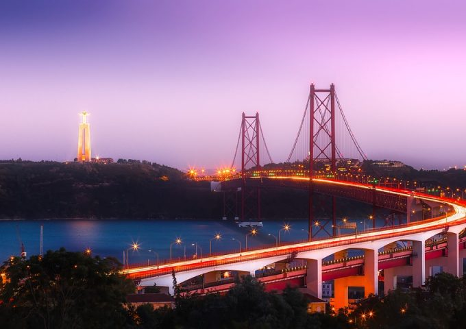 Lisbon City Portugal Urban Sunset Bridge Dusk